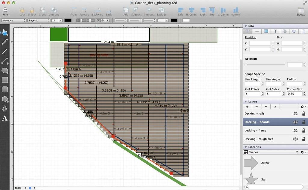 TouchDraw decking plan - deck boards